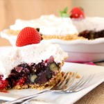 No Bake Triple Berry Pie with Pretzel Crust