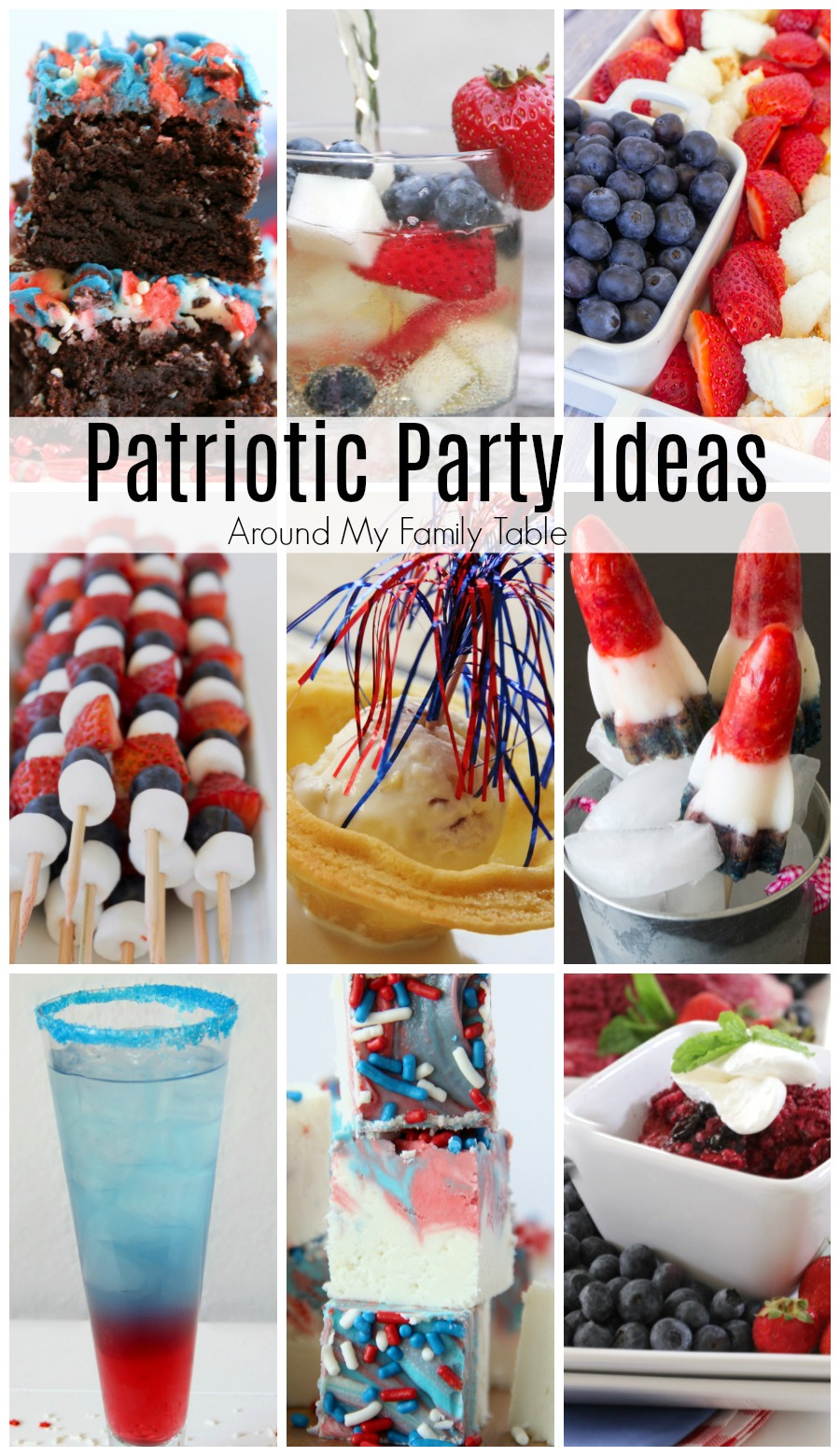 If you are gearing up for a big summer BBQ these Patriotic Party Ideas are sure to get you in the spirit.These red, white, & blue recipe ideas are perfect for any party where you want to show your patriotism.