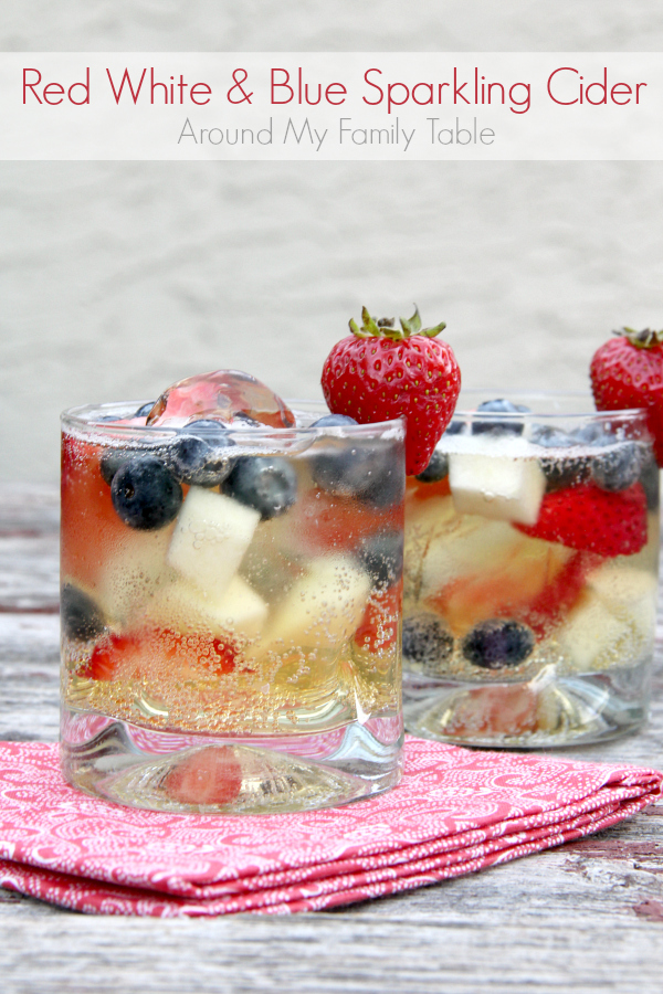 This Red, White, & Blue Sparkling Cider is easy, refreshing, and delicious. It's perfect for party-goers of all ages!