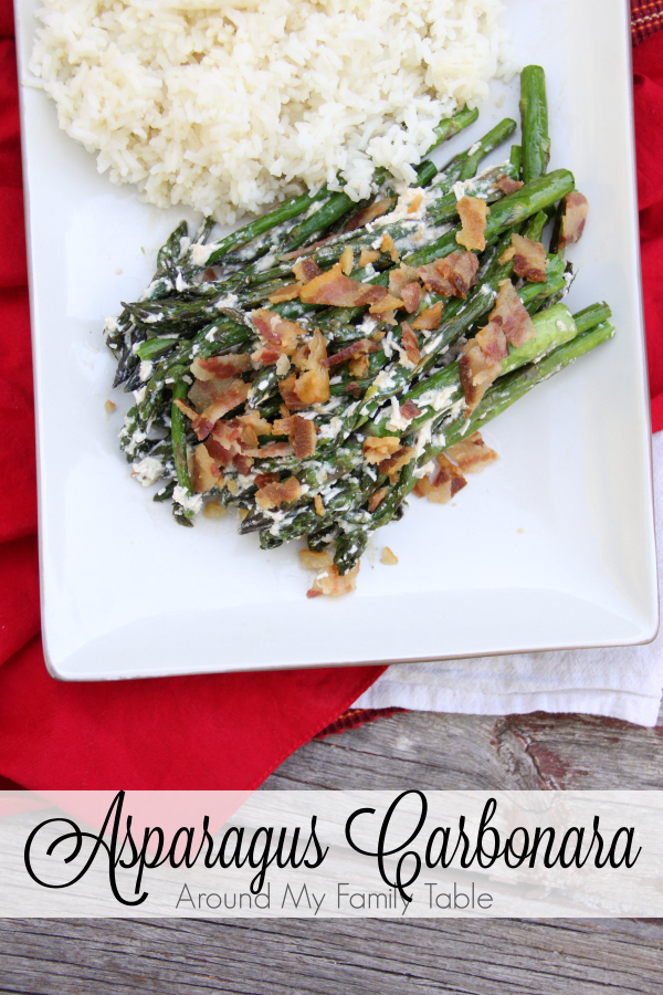 This Asparagus Carbonara is the most rich and decadent asparagus that I've ever had.