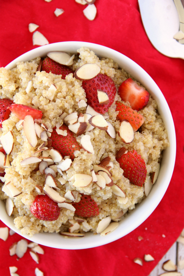 This Strawberry Almond Quinoa is a delicious and easy side dish to throw together for a picnic, party, or just a week night summer supper.