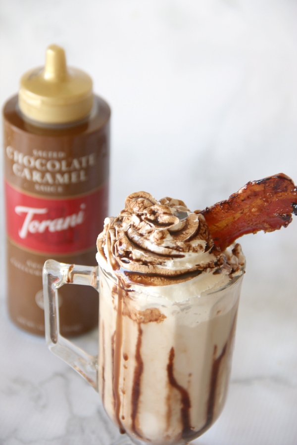 This Chocolate Caramel Bacon Milkshake is one of the most decadent milkshakes ever. It's sweet, salty, chocolatey, and total perfection.