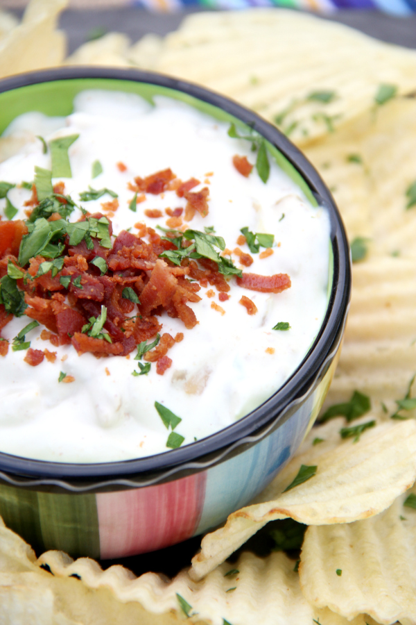 Take plain French Onion Dip from good to great when you add bacon. This French Onion & Bacon Dip will blow your mind.