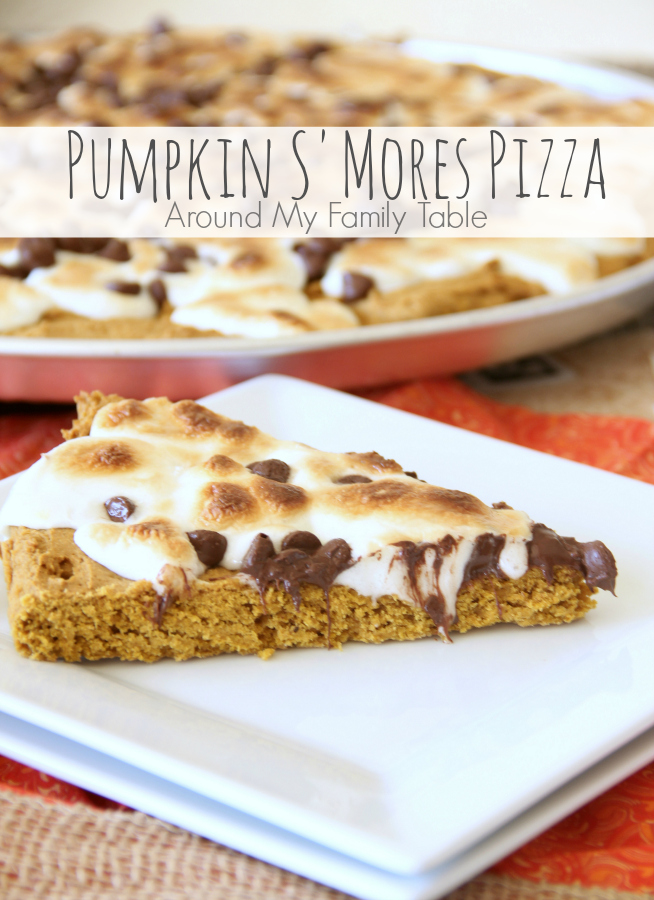 Fall is here and this Pumpkin S'Mores Pizza is scrumptious and the perfect fall dessert! It's such an easy recipe and takes only about 3o minutes!