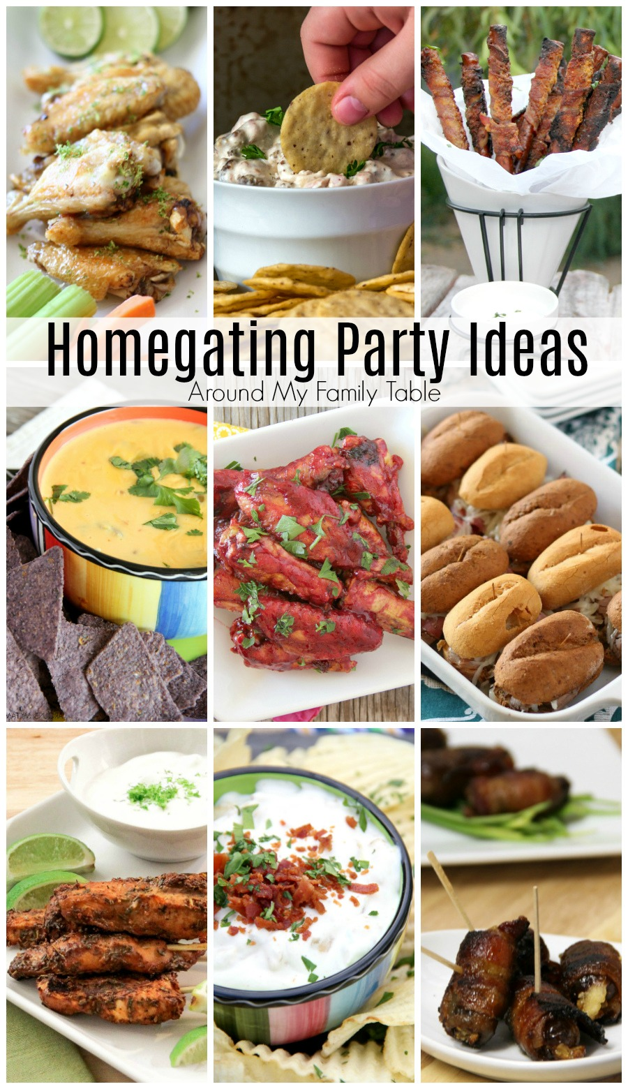 Delicious Homegating Party Ideas will win over your friends, family, and the rest of the team. These recipes are finger-licking good that you will be able to make year after year to feed guests during the whole football season. #homegating #footballfood #superbowl via @slingmama