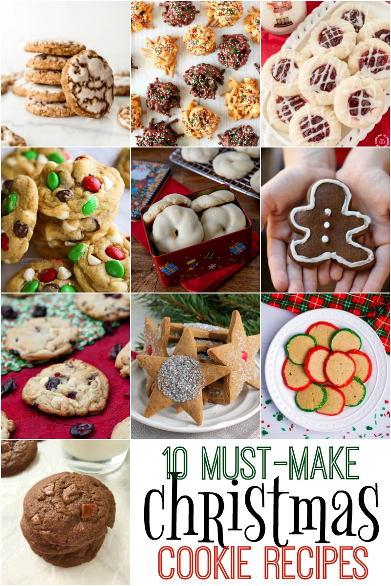 collage of holiday cookies