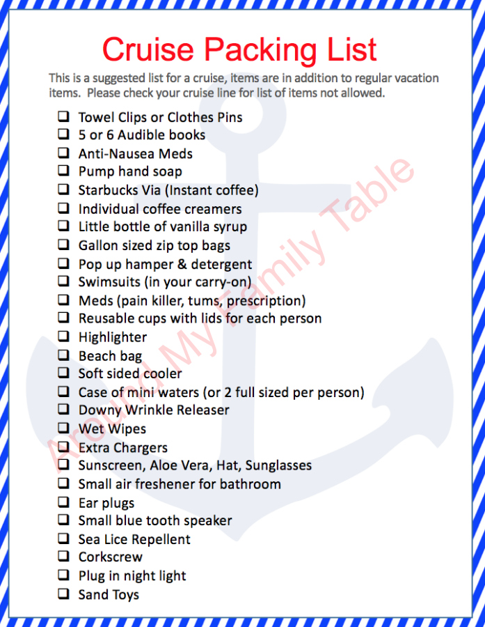 Printable Cruise Packing List....so print it off and start packing. FREE PRINTABLE