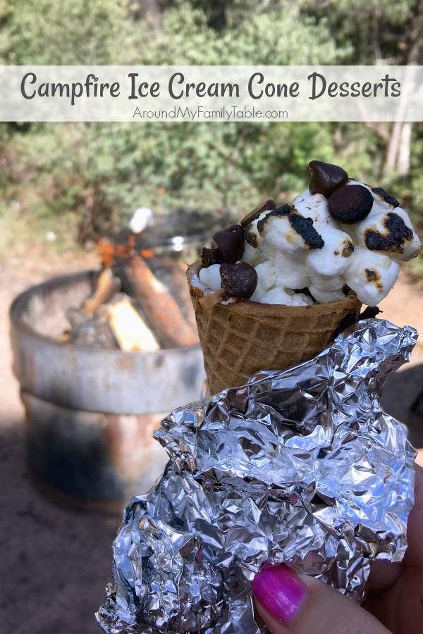 Kids of all ages will love making their own Campfire Ice Cream Cone Desserts on your next campout.