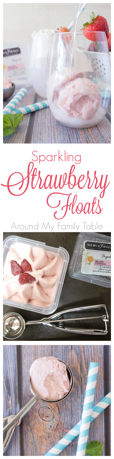 These Sparkling Strawberry Floats are the perfect afternoon sipper on a hot day or a light summer dessert.