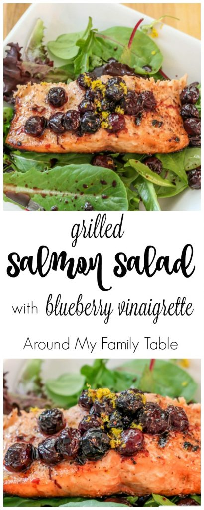 Grilled Salmon Salad with Warm Blueberry Vinaigrette Dressing - perfect for a quick weeknight meal at home with the kids or easy dinner for entertaining guests. | Around My Family Table