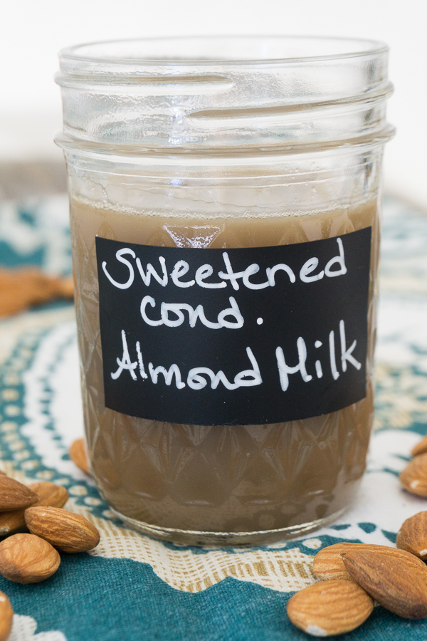 The perfect dairy free substitute for sweetened condensed milk is this homemade Sweetened Condensed Almond Milk.