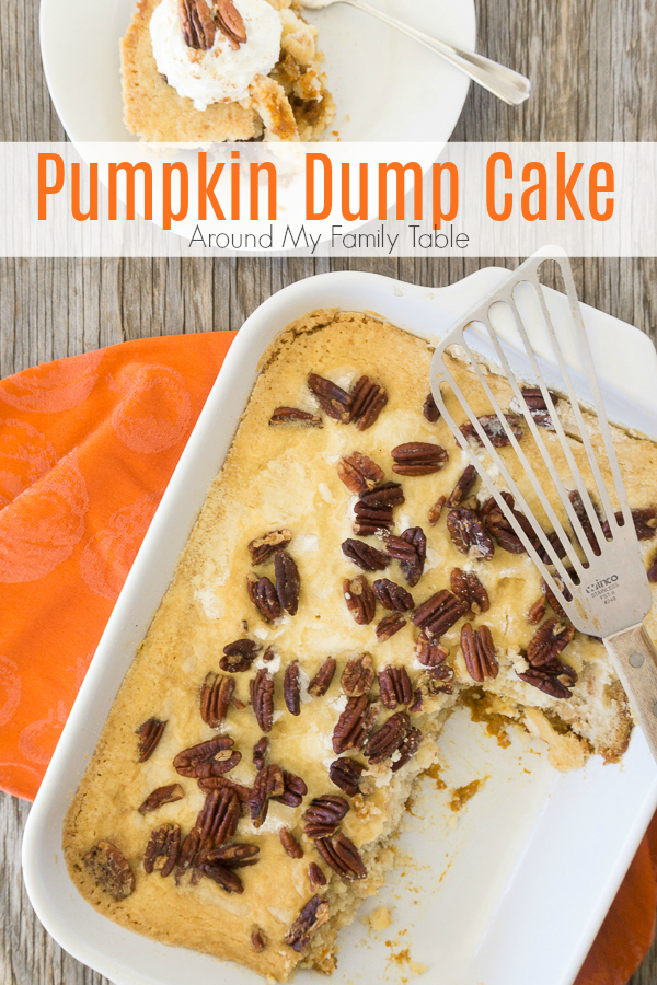 There is so much pumpkin flavor in this easy Pumpkin Dump Cake recipe that uses your favorite boxed cake mix.