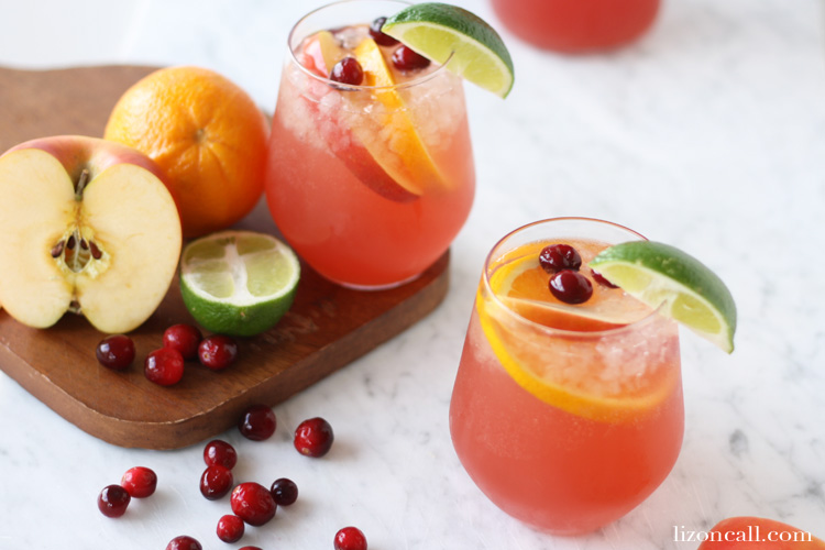 glasses of holiday party punch