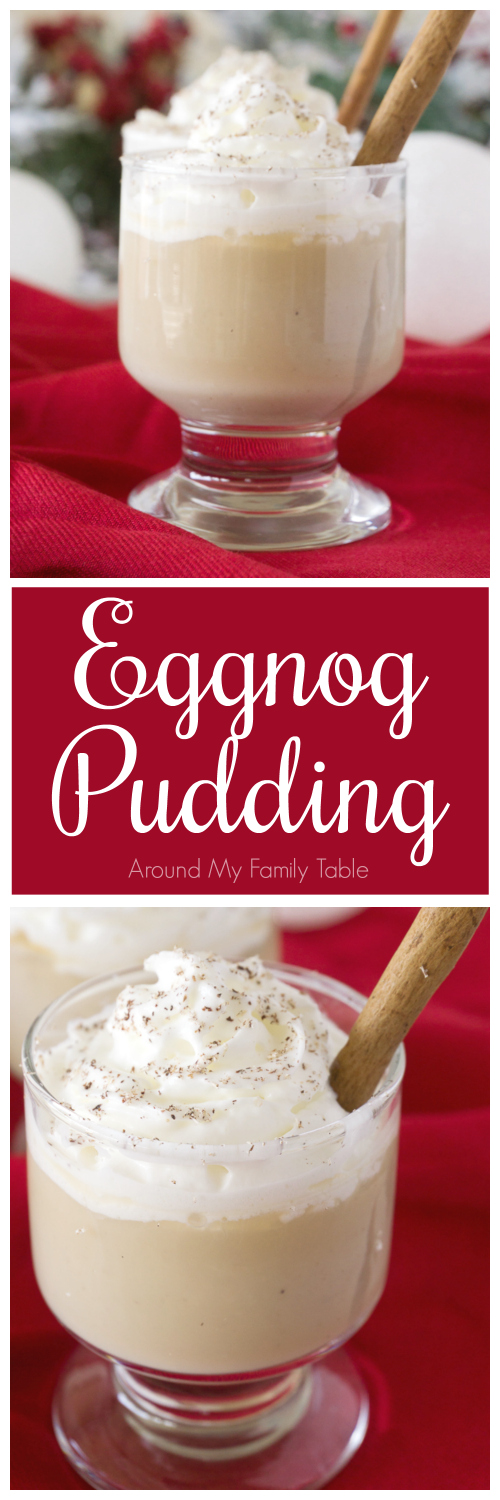 This rich Eggnog Pudding is delicious and creamy and is so easy to make.  Cuddle up with a holiday movie and bowl of this pudding for a wonderful evening.