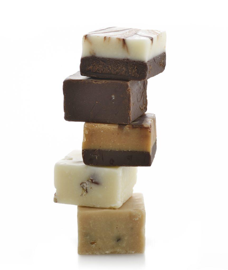 stack of gourmet simple fudge