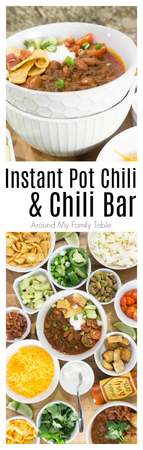 In less than an hour, this Instant Pot Chili Recipe will be hot and ready and taste like it's been simmering all day. Add all the fixin's for a fun Chili Bar that will be the talk of your homegating party! #chili #chilibar #instantpot