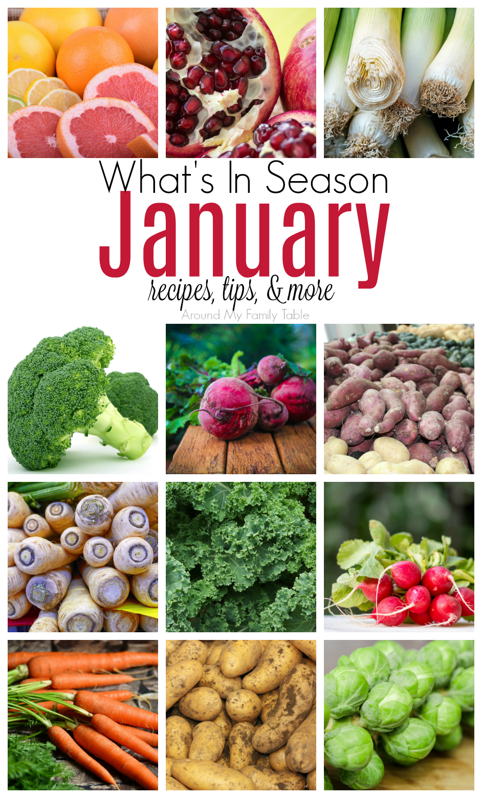 This January -- What's in Season Guide is full of tips and recipes to inspire you to shop and eat seasonally.