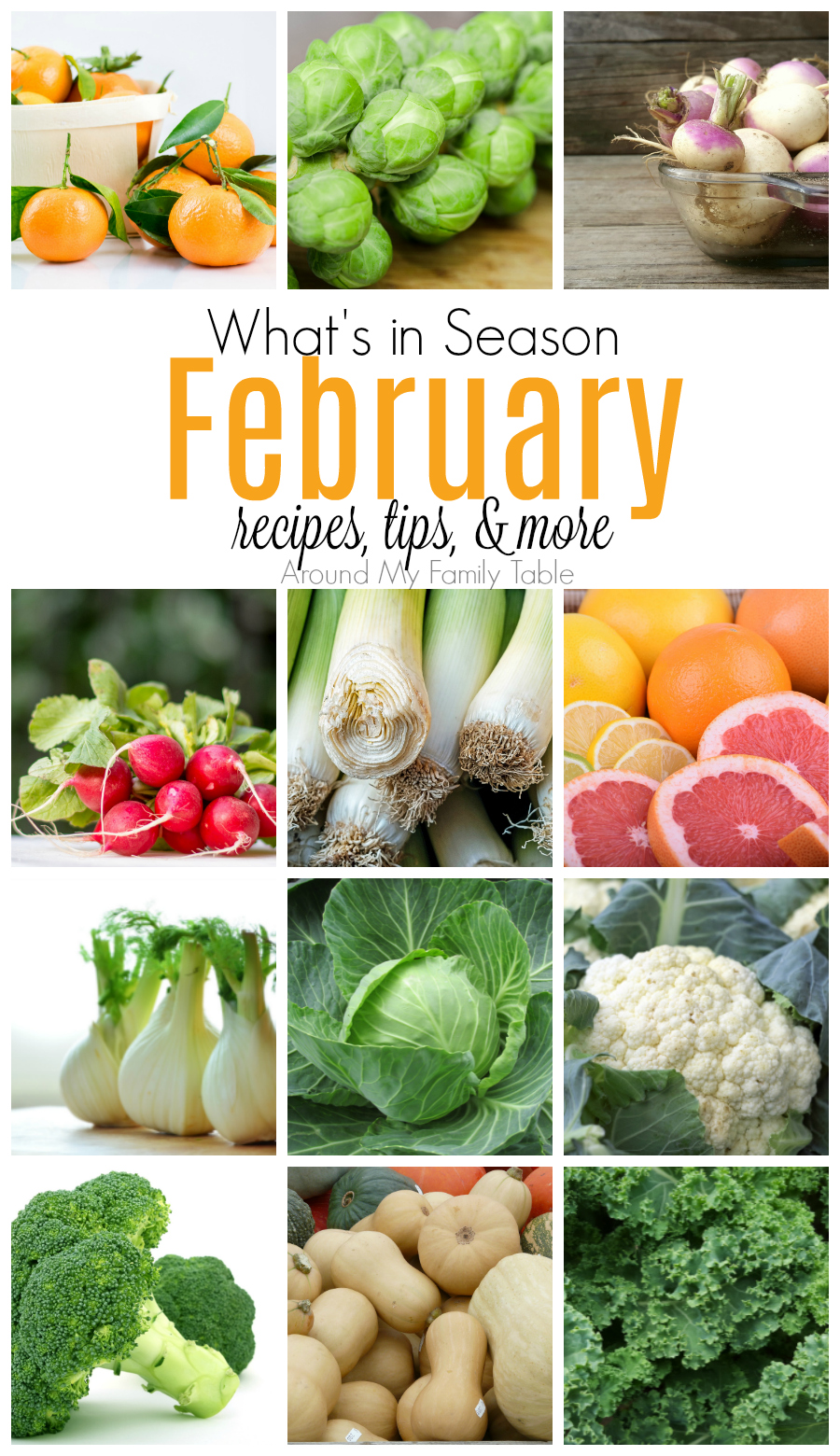 ThisFebruary -- What's In Season Guideis full of tips and recipes to inspire you to shop and eat seasonally. #seaonalproduce #whatsinseason #february