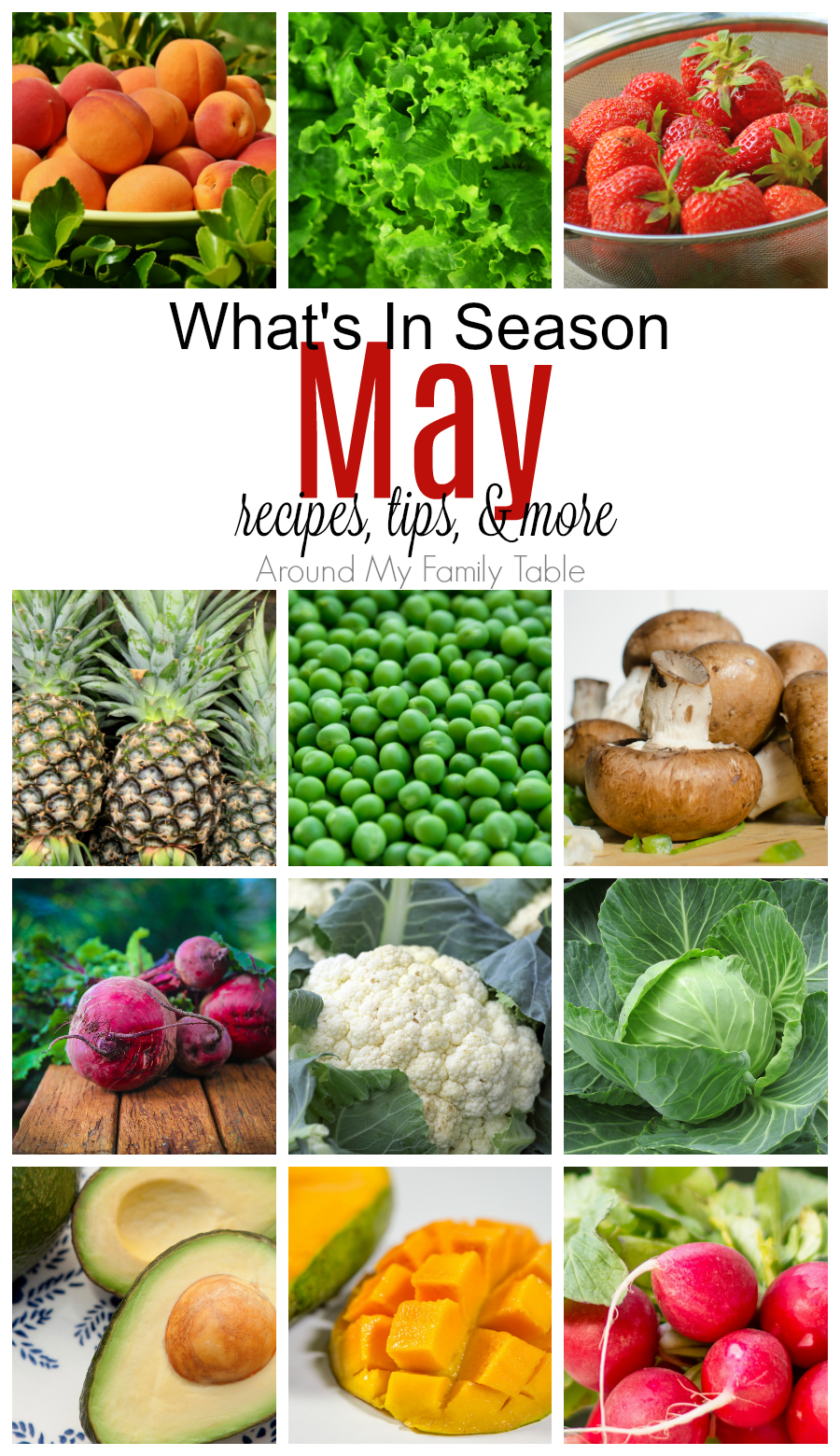 May has is a mixture of spring and summer produce.  Find out all about May Seasonal Produce in this May -- What's In Season Guide.  #seasonalproduce #whatsinseason #eatseasonally via @slingmama