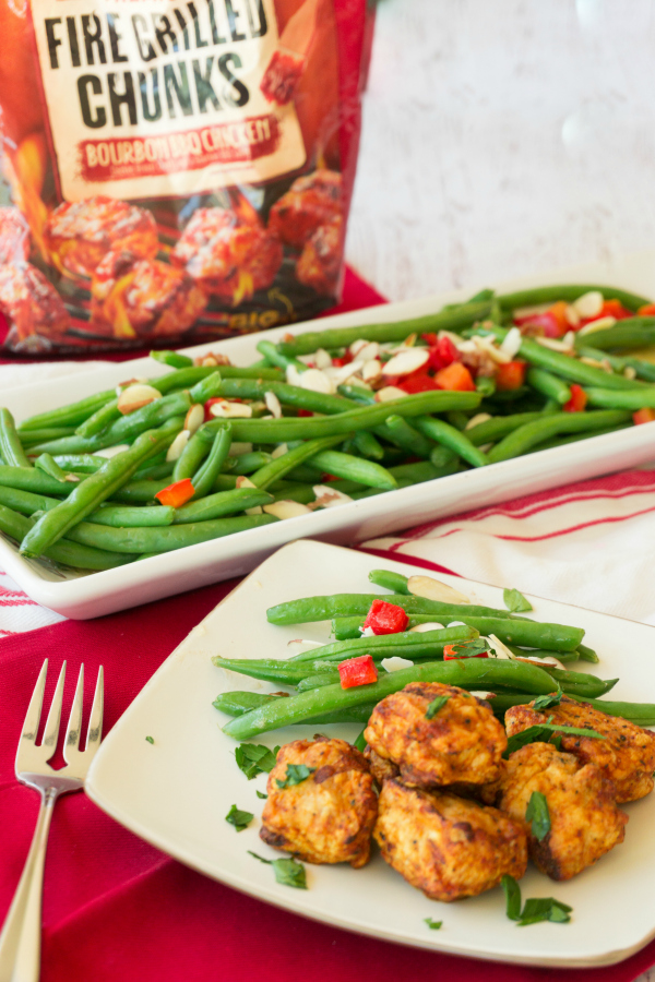 This flavorful side dish, Green Beans with Brown Butter & Almonds, is ready in about 15 minutes. Dinner doesn't have to take a long time to make and with the help of Cooked Perfect Fire Grilled Chicken, your family will be eating faster than it takes to order take out.