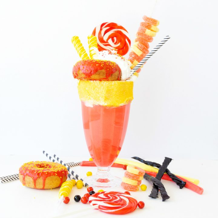 Grab your favorite cherry ice cream for a delicious cherry milkshake turned into an incredible freakshake.  The Incredibles Freakshake is inspired by the first movie and Pixarfest!