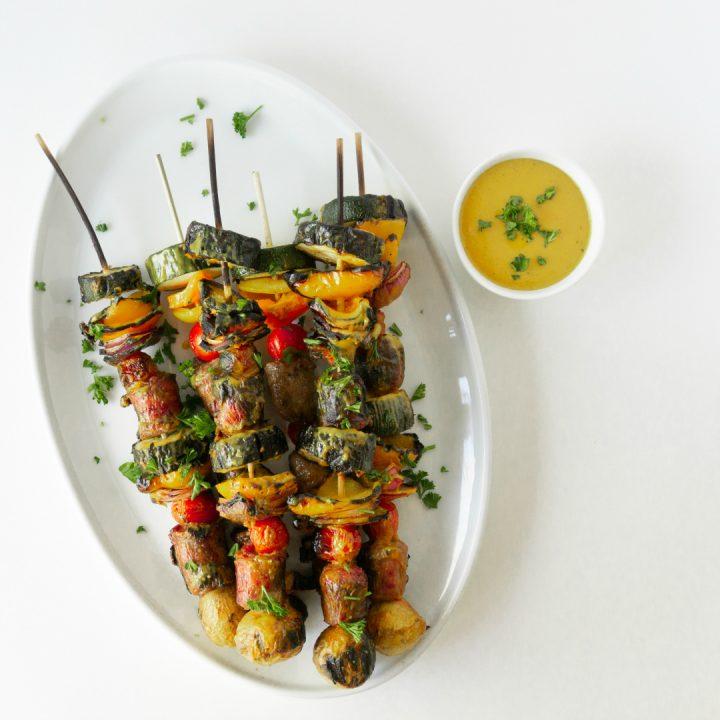 Brat Vegetable Kabobs with Mustard BBQ Sauce