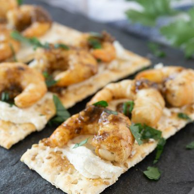 In about 30 minutes these Garlicky Balsamic Shrimp Appetizers are ready for any party or summer BBQ.