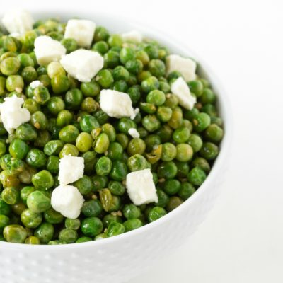 Roasted Peas with Garlic & Feta