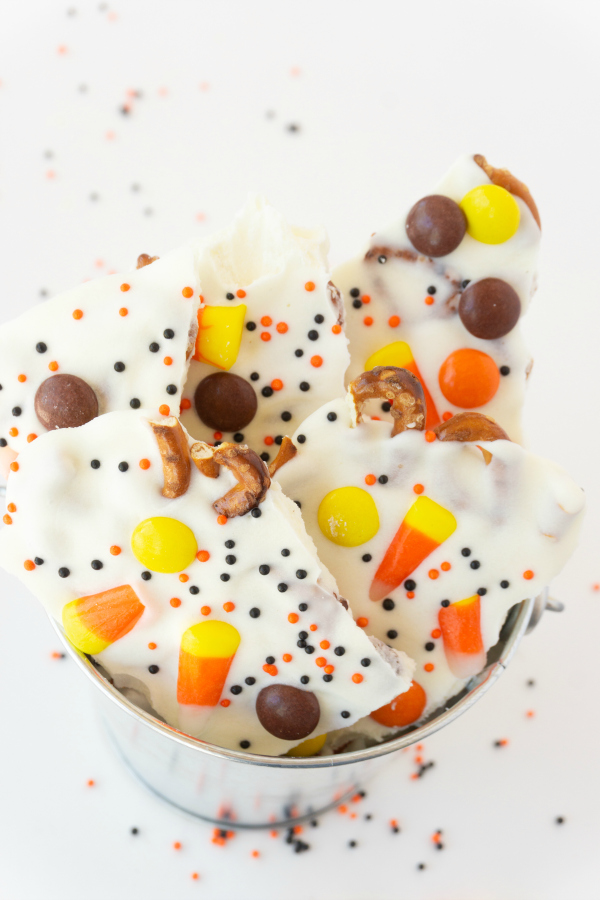 My Halloween Bark is on the top of my list for craveable goodies. It comes together quickly and is festive enough to share and package into gifts.