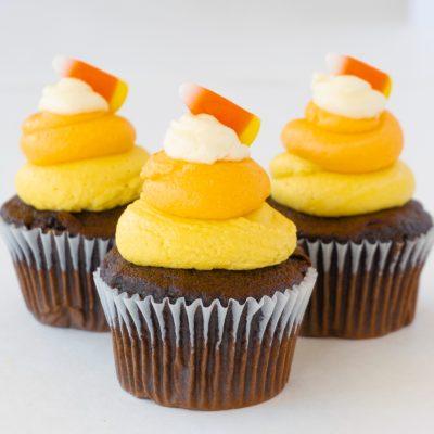 Halloween Candy Corn Cupcakes