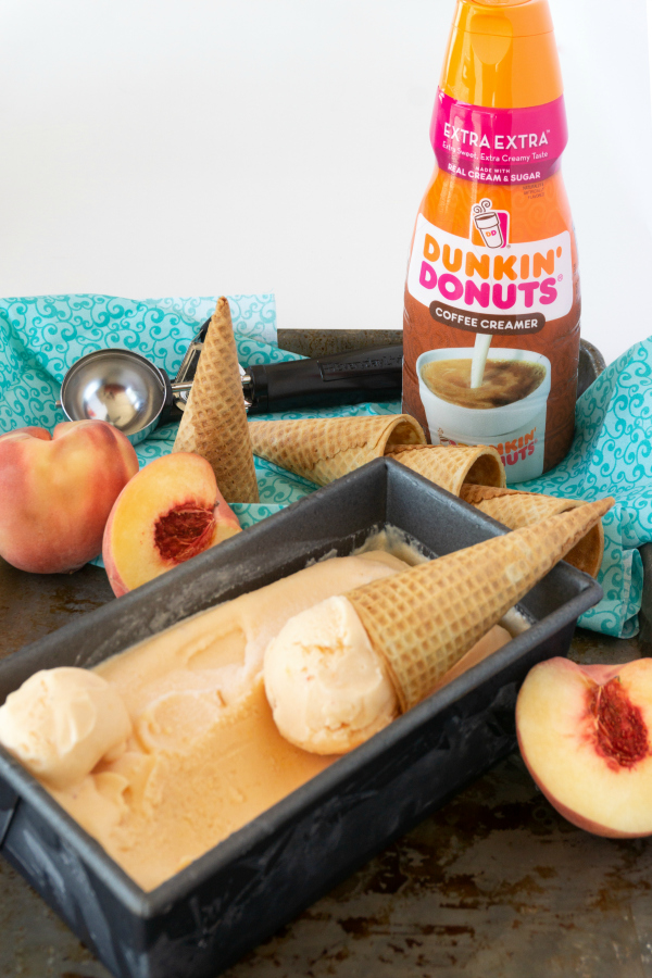 Grab an ice cream cone because this 2-ingredient, no churn peach ice cream is the easiest and The Best Peach Ice Cream Ever!
