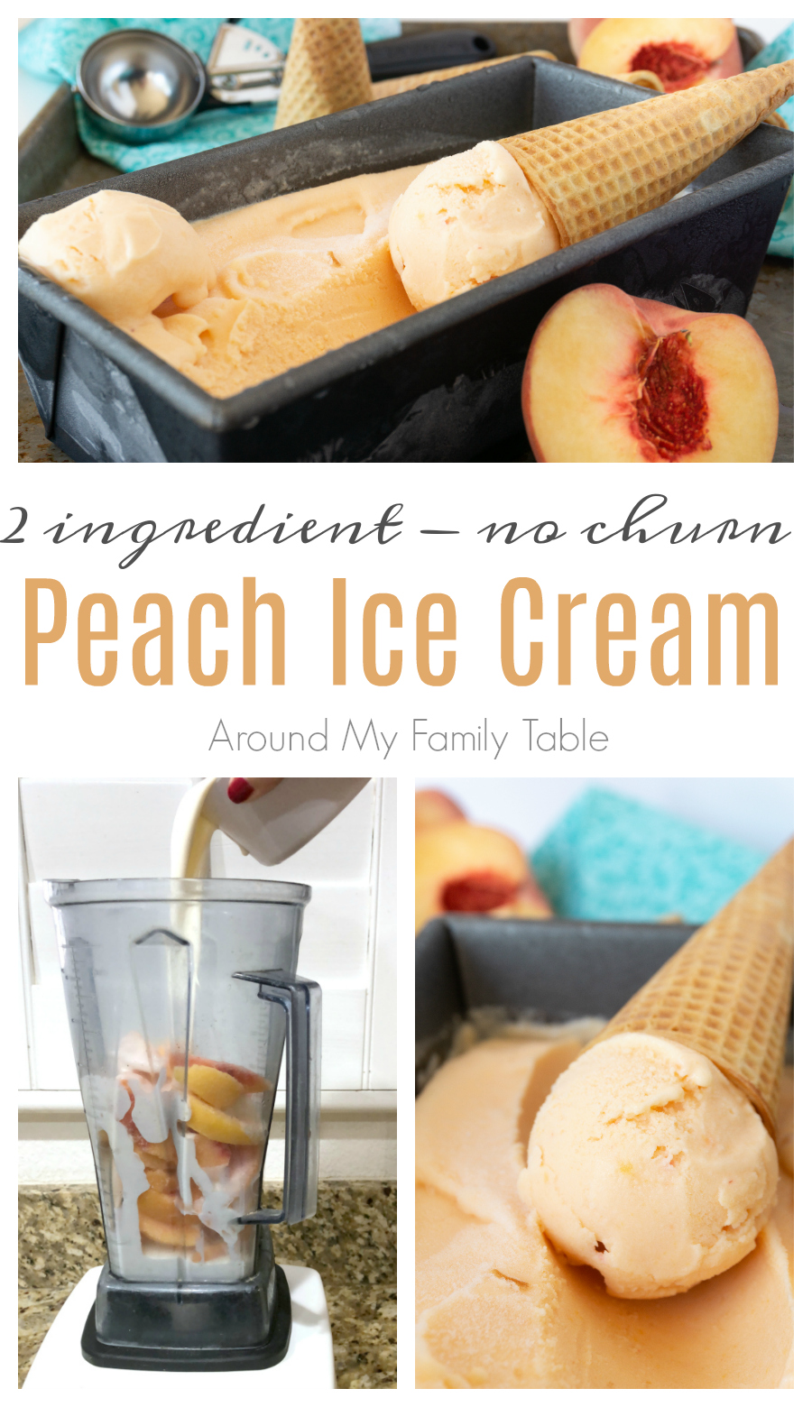 Grab an ice cream cone because this 2-ingredient, no churn peach ice cream is the easiest and The Best Peach Ice Cream Ever! via @slingmama