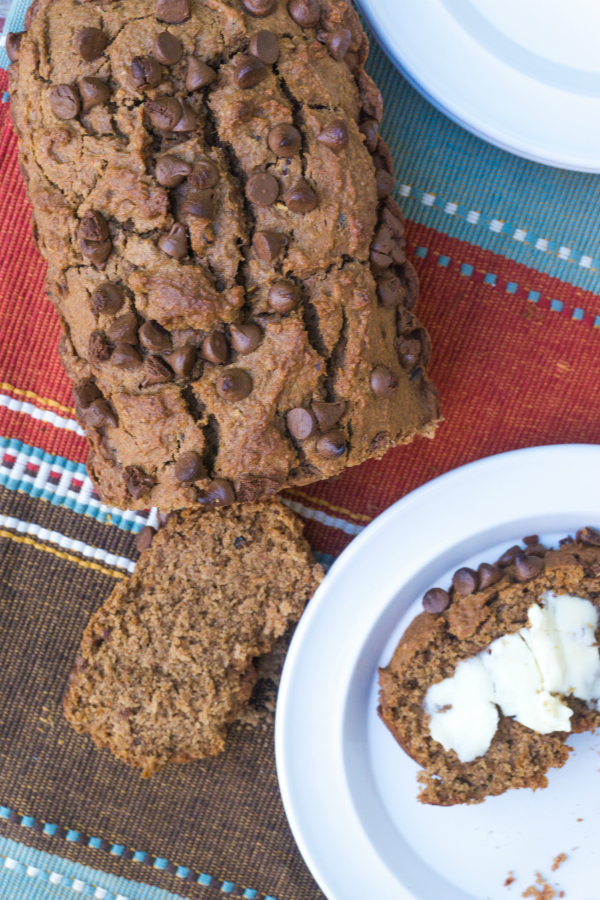 This Pumpkin Banana Bread with Chocolate Chips is moist and delicious and the perfect fall breakfast quick bread.