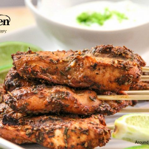 Firecracker Chicken Skewers with Cooling Lime Cream Sauce