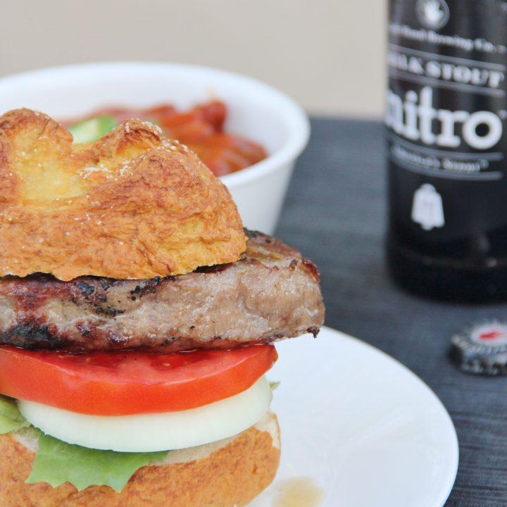 Pretzel Buns and Bratwurst Patty Burgers