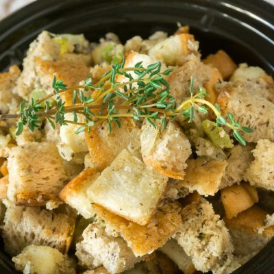 Bread stuffing in a slow cooker