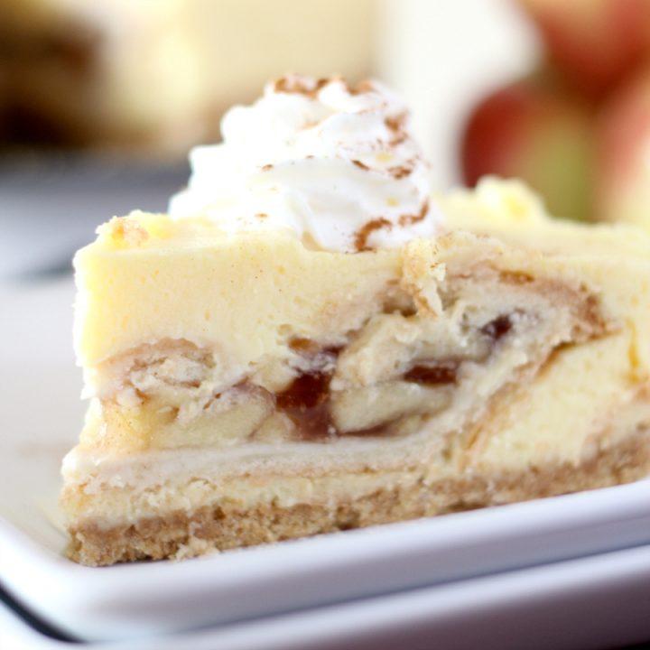 No Bake Apple Pie Stuffed Cheesecake