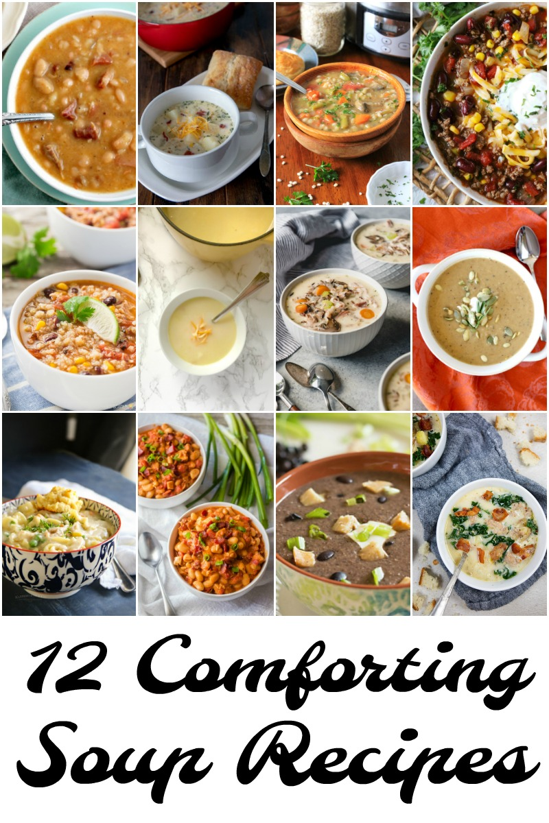 12 Comforting Soup Recipes that are perfect on a cold winter day.
