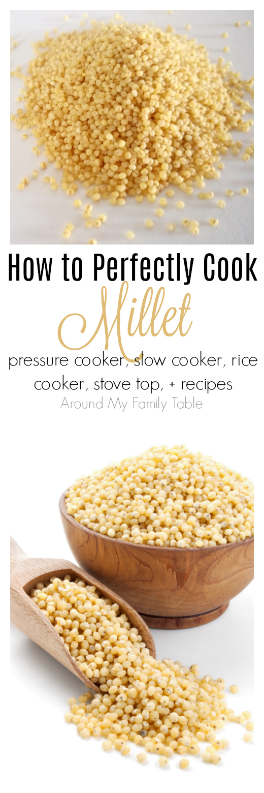 Everything you've wanted to know about millet.  This How to Cook Millet guide features instructions on using a pressure cooker, instant pot, slow cooker, rice cooker, and stovetop for cooking millet, plus there are a few delicious recipes to try as well.