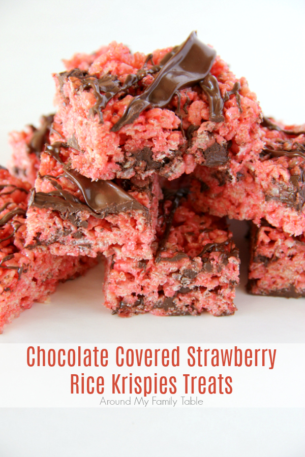 Grab a couple of these Chocolate Covered Strawberry Rice Krispies Treats because I might have created a monster when I added strawberry jello to my favorite rice krispies treats recipe and then drizzled chocolate all over the top.
