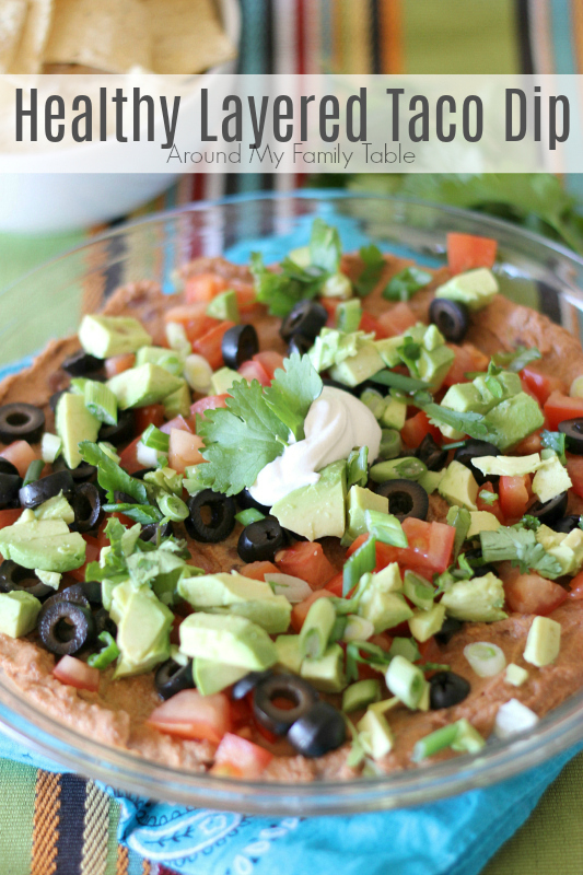 Fresh vegetables, taco seasoning, beans and little bit of sour cream layered in a pretty dish are turned into a delicious and Healthy Layered Taco Dip that are perfect for any party.