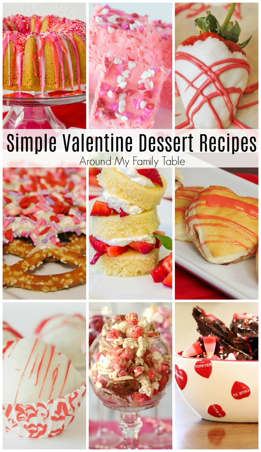 Valentine's Day is right around the corner and this list of Simple Valentine Dessert Recipes is sure to have the perfect treat to share with your hunny.   #valentinesday #desserts #valentinesdaydesserts via @slingmama
