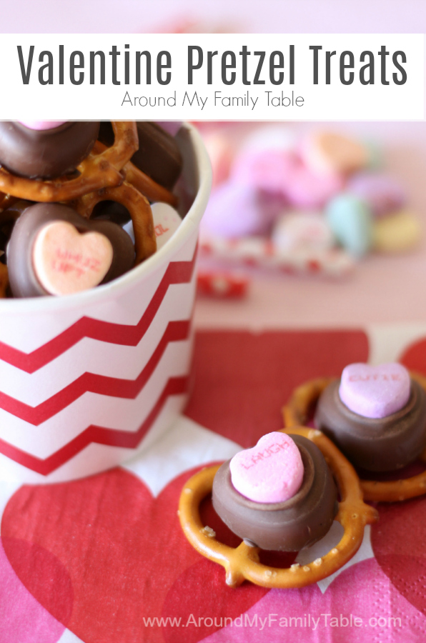 I love how easy these Valentine Pretzel Treats are to throw together.  Perfect for last minute gifts, parties, or just because you need to satisfy your sweet & salty craving! I just love how simple these pretzel valentines are!