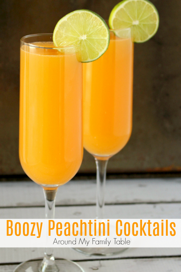 Vodka Peach drink in champagne glasses