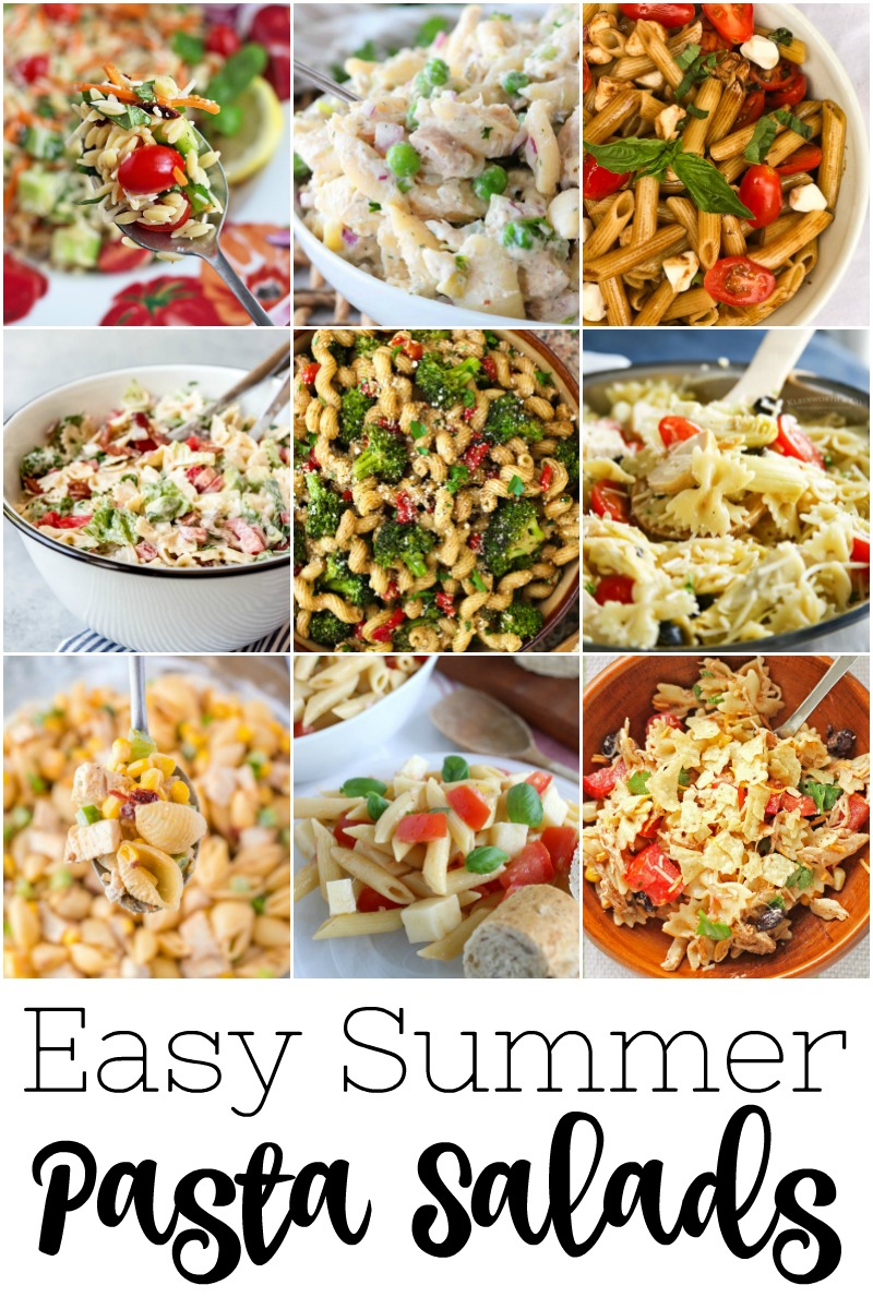 collage of different pasta salad dishes