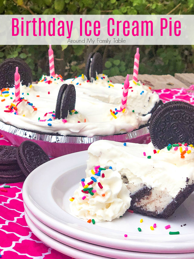 Skip the cake and make this cookies and cream Birthday Ice Cream Pie for your next celebration! It's so easy to put this ice cream pie together, but it does take time to freeze so plan ahead. via @slingmama