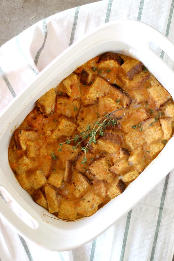 sweet potato breakfast casserole in a white dish