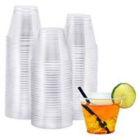 NYHI 100-Pack 9 oz Clear Plastic Cups | Value Pack Of BPA-Free Disposable Party Cup Tumblers | Use These Plastic Glasses for Drinks, Cocktails, Wine, Punch, Champagne & More | Essential Party Supplies