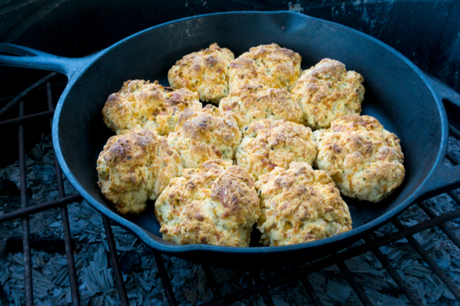 biscuits in a cast iron pan