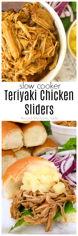 These Slow Cooker Teriyaki Chicken Sliders are topped with crushed pineapple and red onions all on Hawaiian slider rolls. They are so easy in the slow cooker and the scratch made sauce is so simple and better than any bottled sauce. #teriyakichicken #sliders #slowcooker #crockpot #easydinners #slowcookerdinner via @slingmama